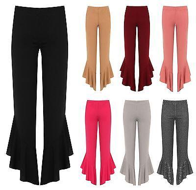 Intelectivo Womens Flared Frill Asymmetric Hem Plain And Check Trousers Ladies Stretch Pants Extremadamente Eficiente En La PreservacióN Del Calor
