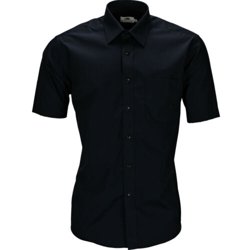 New Mens Poplin Button Up Formal Shirt Top Short Sleeve Office Work School Lot