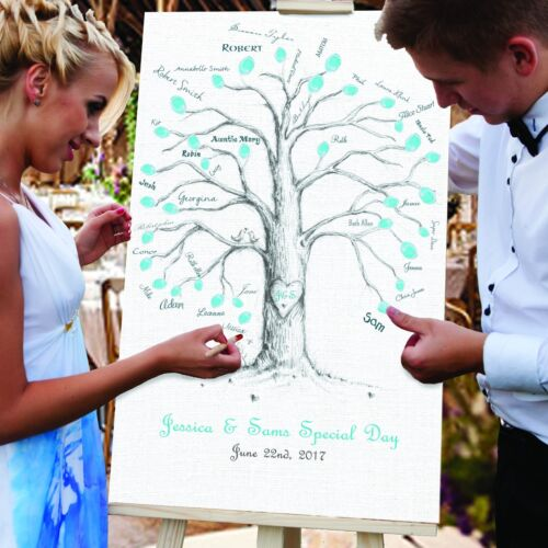 Unique Tree design Personalised Wedding GUEST FINGER PRINT CANVAS