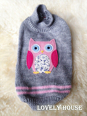 Pet Clothes Dog Cat Sweater OWL Jumper Fashion Coat Clothing