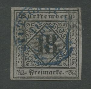 Altdeutschland-Wuerttemberg-1851-Mi-5-gestempelt-repariert-Ecke-angesetzt-shScan