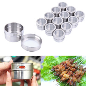 12pcs-Magnetic-Stainless-Steel-Spice-Pot-Herb-Jar-Storage-Sauce-Container-Home