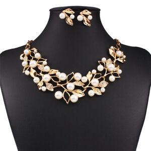 15efa6eee Image is loading Women-Bridal-Wedding-Crystal-Pearl-Necklace-Rhinestone- Earrings-