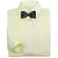 Baby Boy Formal Party Tuxedo Suit Ivory Dress Shirt Black Bow Tie 0-7
