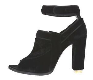 GIVENCHY Women's Black Velvet Leather Ankle Strap Open Toe Boots Sz. 38