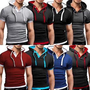 Men-039-s-Short-Sleeve-Hoodie-Hooded-T-Shirt-Summer-Slim-Fit-Muscle-Gym-Sport-Tops