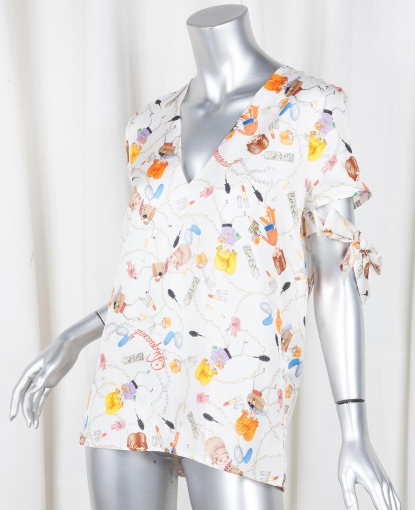 DSQUArot 2 damen Weiß Silk Makeup Girl V-Neck Blouse Shirt Top 42 6 S NEW NWT