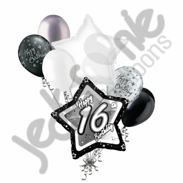 7 Pc 16th Elegant Star Happy Birthday Balloon Bouquet Decoration Black White