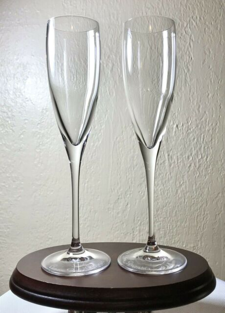 2 French Marked Baccarat Crystal Dom Perignon Champagne Flutes Glasses 8.5