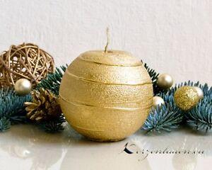 Kugelkerze Spirale Gold 8cm Kerzen Hochzeit Advent Weihnachten