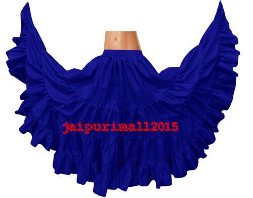 Cotton Gypsy Skirt 4 Tiered 25 Yard Skirt Tribal Belly Dance Flamenco Jupe S~3XL