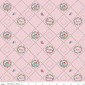 Riley Blake Country Girls Designer Fabric C3646 Pink love birds cotton material