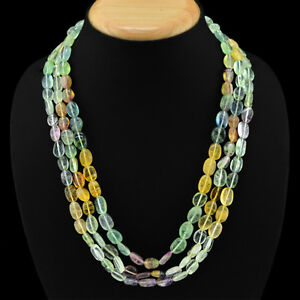 VERY-ATTRACTIVE-726-50-CTS-NATURAL-3-LINE-MULTICOLOR-FLOURITE-BEADS-NECKLACE-DG