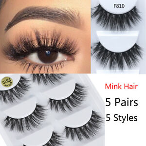 2412fa52b28 5 Pairs 3D Volume Corner Thick False Eyelashes Strip Lashes [100 ...