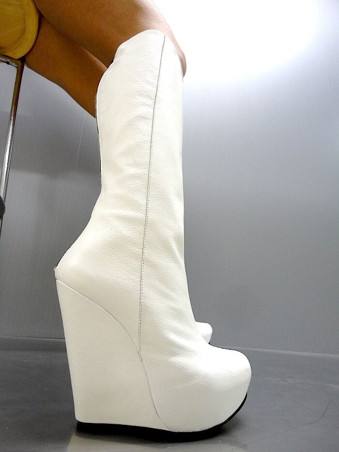 MORI ITALY WEDGES HEELS KNEE HIGH Stiefel STIEFEL Stiefel LEATHER Weiß BIANCO 38