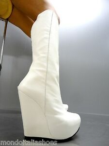 MORI ITALY WEDGES HEELS KNEE HIGH BOOTS STIEFEL STIVALI LEATHER WHITE BIANCO 42