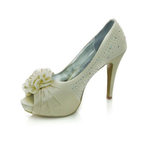 Christopher Natalia Diamond Ladies Golden Flower Wedding Womens Heel Shoes Satin