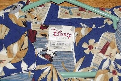 Disney Store Kids Hawaiian Shirt Size L (10-12) 100% Rayon Mickey With Drums