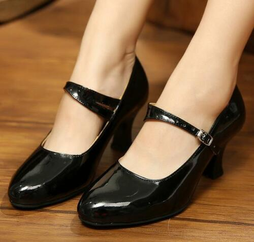 Femmes Mi Talon Bobine escarpins bride cheville Latin Tango Mary janes chaussures de danse