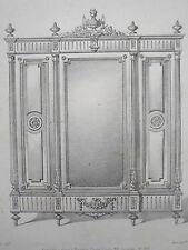 Armoire 3 portes LOUIS XVI GRAVURE le MAGASIN de MEUBLES Victor QUETIN XIXéme