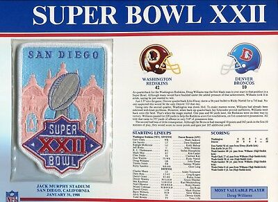 1988 Super Bowl XXII Patch Superbowl 22 Embroidered Championship SB Iron On 4