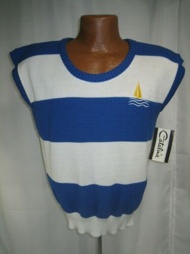 Catalina Vintage 80's Blue & White Striped Sweater