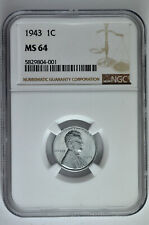 1943 1c Lincoln Steel Wheat Cent NGC MS 64