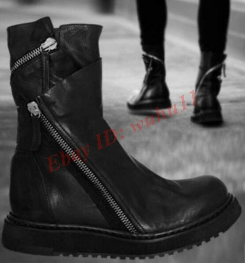 New Men Ankle Boot Zipper Cowboy Combat Boot Punk Leather Round Toe Gothic shoes