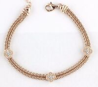 Womens 925 Sterling Silver Cz Rose Gold Plated Bracelet Chain Italy Made 7