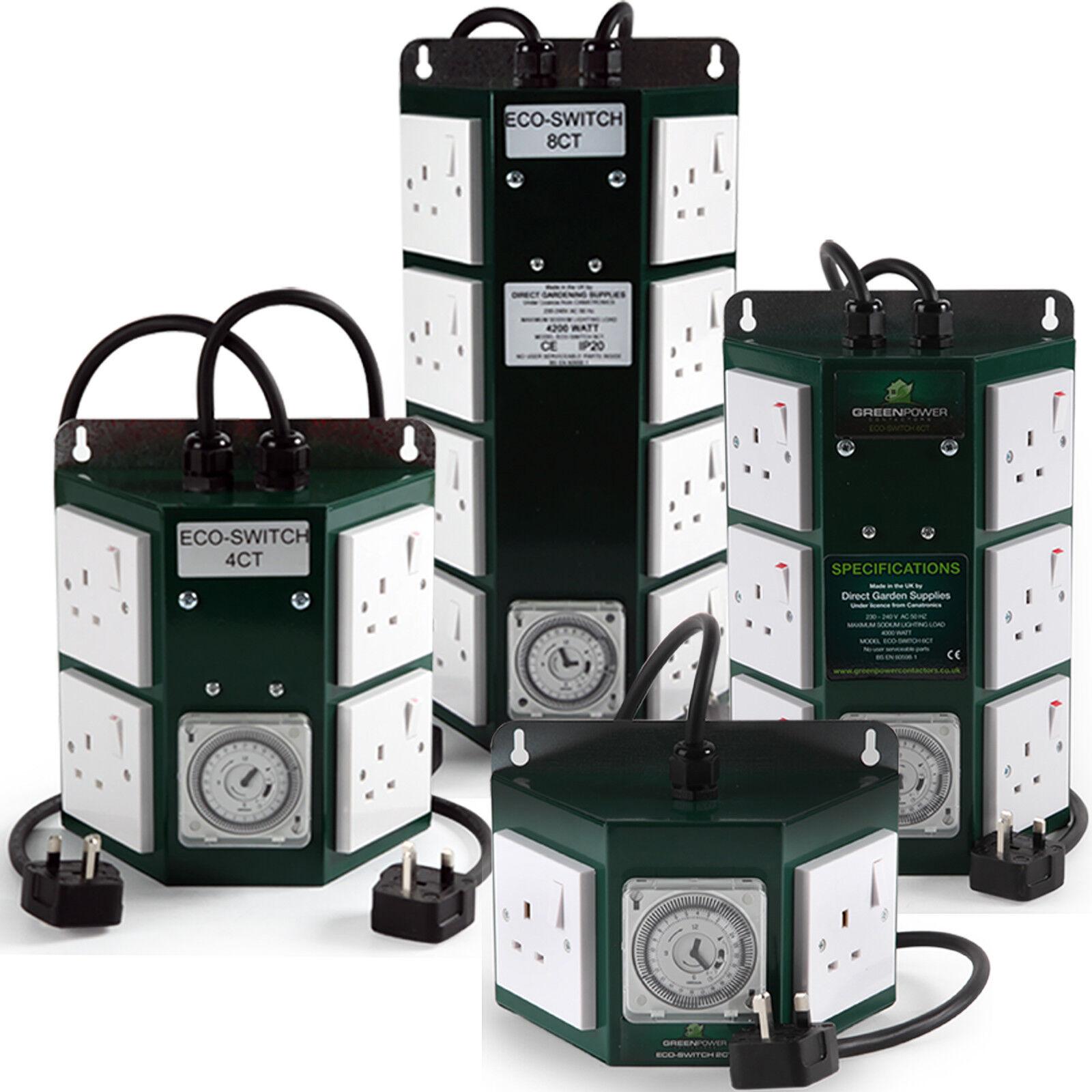verde Power 2 4 6 & 8 Way Profesional Hidropónico Contactor con Grasslin Timer