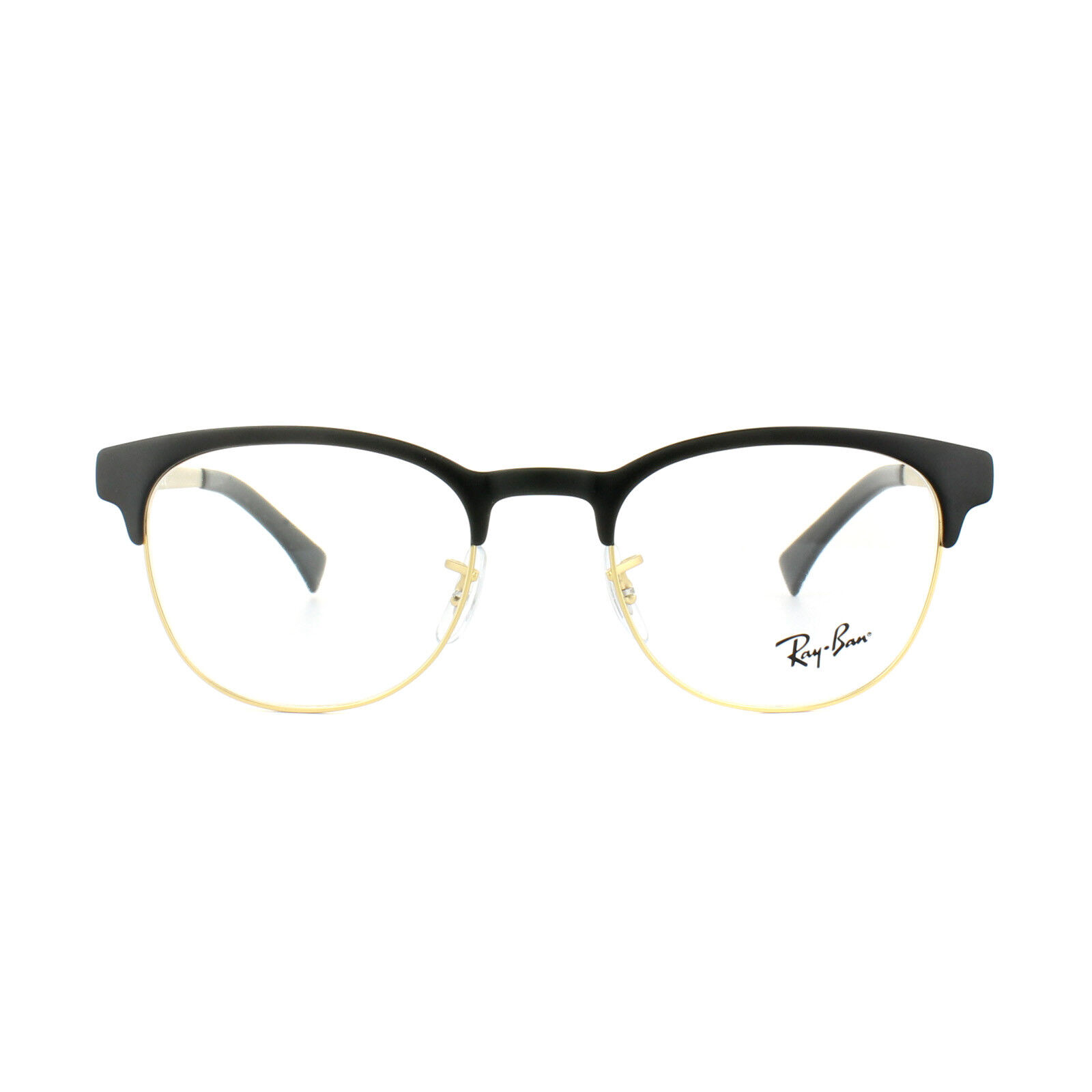 45d37058937 Ray Ban Rx6317 2833 Black and Matte Gold Round Metal Clubmaster ...