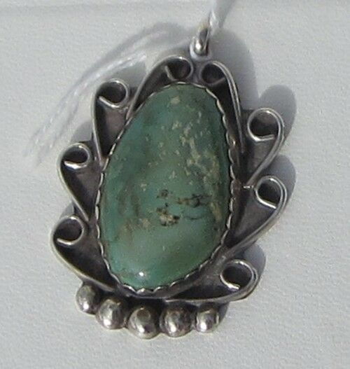Signed Sterling Silver and Green Turquoise Pendant , Lots of Extra Detail