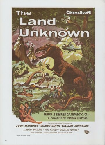 "1977 Vintage /""THE LAND UNKNOWN/"" DINOSAURS /& MAN MINI POSTER Art Plate Lithograph"