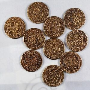 Coins//Pirates//Treasure//Spanish//Gift Superb Job Lot 12 Spanish Gold Doubloons