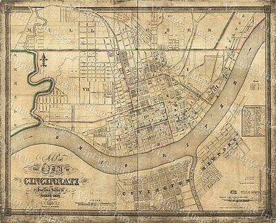 1838 Cincinnati Ohio Vintage Old Panoramic City Map 18x24