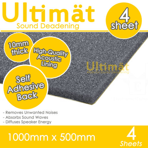 Ultimat 4 Sheet Pack Adhesive Sound Proofing Deadening Foam Tiles 1000x500x10mm