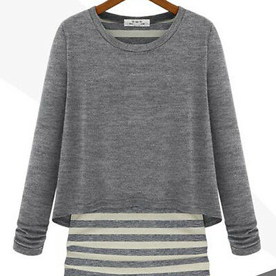 Celebrity Style Long Sleeve Striped Cotton Tops T-Shirts Casual Tee Blouse VA