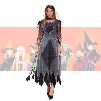 Donna Costume la Sposa Cadavere Zombie Fantasma Halloween Fancy Dress Donna 10 12 14