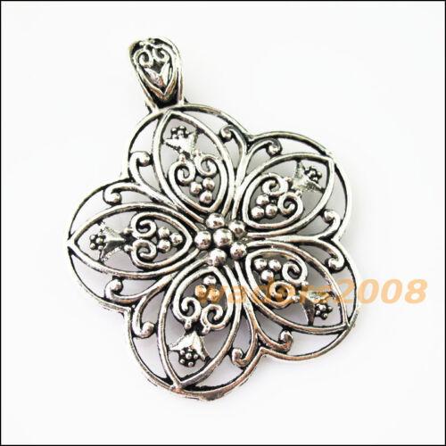 2 New Flower Tibetan Silver Bail Bead Fit Bracelet Chrams Connectors 53x67mm