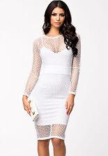 Netted Patchwork Cutout Night Club Party Midi Dress White Medium