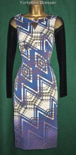 New KAREN MILLEN DT130 Purple ZIGZAG PRINT Stretch Satin Lace BodyCon DRESS 8 10