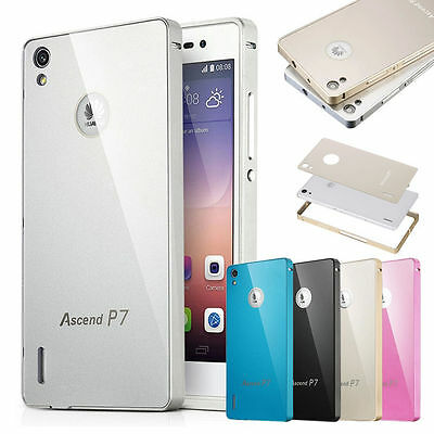 Aluminum Metal Bumper Case +Hard Back Cover For Huawei Ascend P7 Cover Accessory