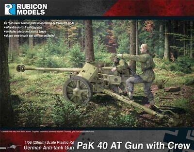Brillante Rubicon Models Pak 40 At Gun With Crew 1/56 28mm Wwii German 7,5cm Anti Tank Gun Sii Amichevole In Uso
