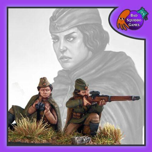 - 28mm Women of WW2 Sitting Soviet Sniper Team Bad Squiddo Games FZ003