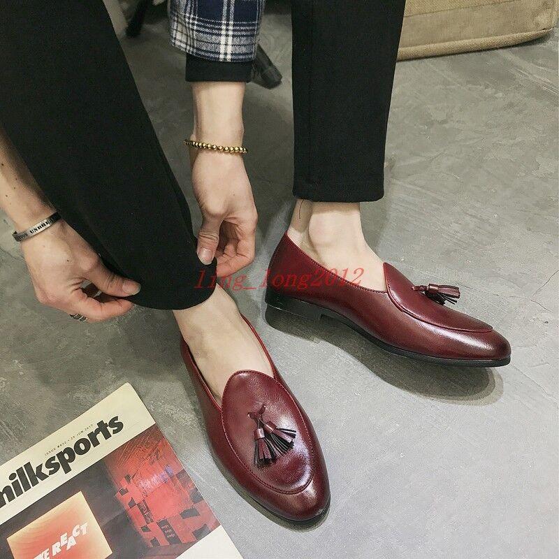 F Enfiler belge   Homme Simili Cuir Plaine Bowcravate Tassel Mocassins Conduite Chaussures Bateau