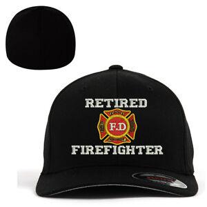 24fdc5080ea Image is loading Flexfit-BASEBALL-CAP-RETIRED-FIREFIGHTER -FD-FIRE-DEPARTMENT-