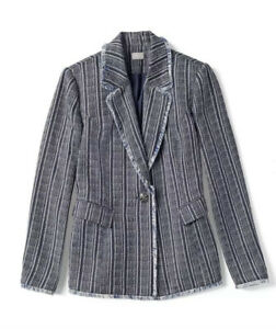 Chico-039-s-3-Striped-Tweed-Fringe-Blazer-Jacket-Button-Long-Sleeve-Size-XL-NWT-159