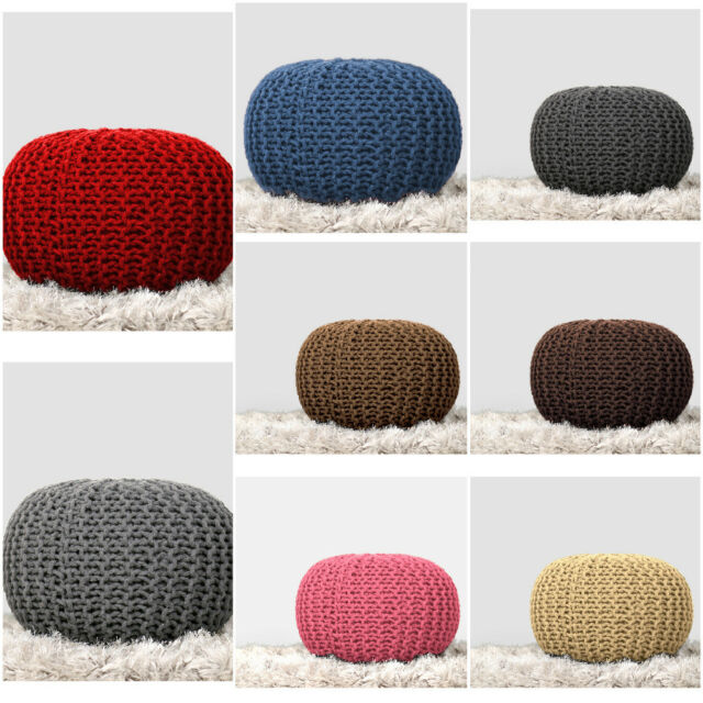 Surprising Hand Knitted Ottoman Cotton Stuffed Pouf Footstool Round Home Decor By Rajrang Cjindustries Chair Design For Home Cjindustriesco