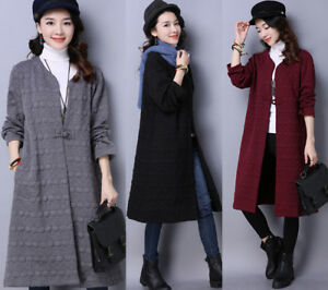 New-Chinese-Style-Women-Linen-Cotton-Padded-Long-Trench-Coats-Jackets-Outwear
