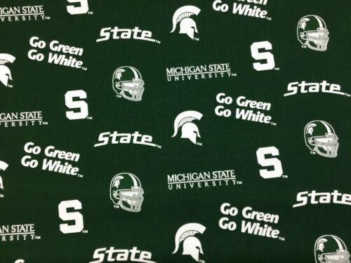"""MICHIGAN STATE  45/""""  COTTON FABRIC BY THE 1//2 YARD Sykel Enterprises g"""